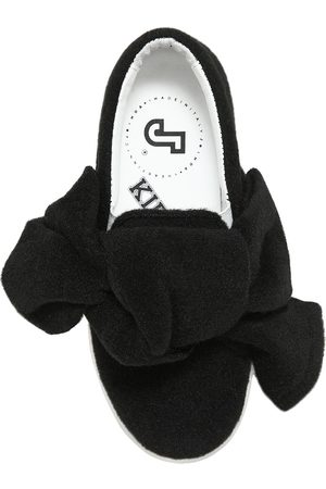 JOSHUA SANDERS BOW FELT & LEATHER SLIP-ON SNEAKERS