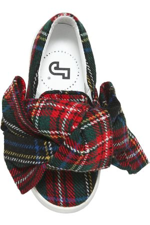 JOSHUA SANDERS PLAID & LEATHER SLIP-ON SNEAKERS