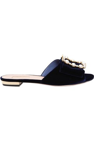 SEBASTIAN 10MM EMBELLISHED VELVET SLIDE SANDALS