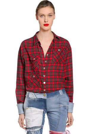 PLAID FLANNEL SHIRT W/ DENIM CUFFS