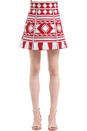 VITA KIN CROATIA EMBROIDERED LINEN MINI SKIRT