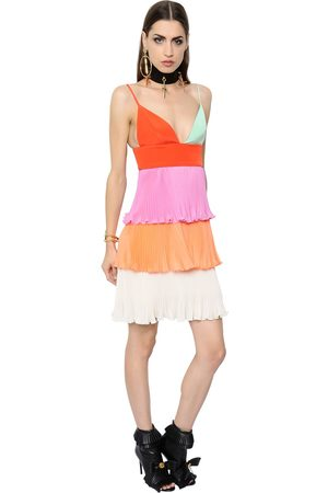 FAUSTO PUGLISI RUFFLED SILK CREPE AND SATIN MINI DRESS