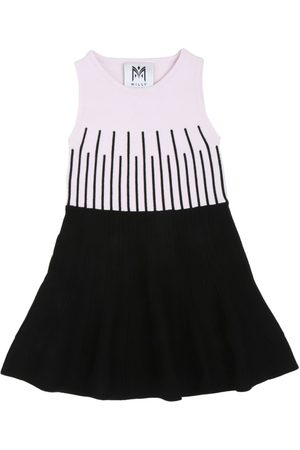 MILLY MINIS EMBROIDERED KNIT VISCOSE DRESS