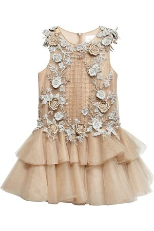 FLORAL EMBELLISHED TULLE DRESS