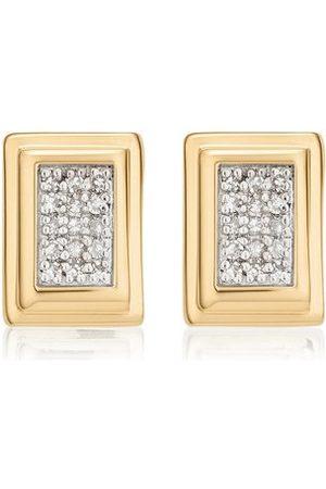 Monica Vinader Gold Baja Deco Stud Earrings Diamond