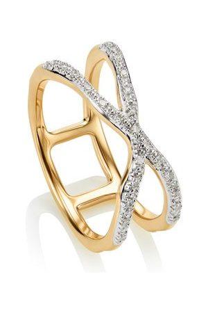 Monica Vinader Gold Riva Wave Cross Ring Diamond
