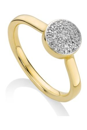 Monica Vinader Women Rings - Ava Diamond Button Ring, Gold Vermeil on Silver