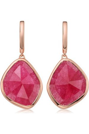 Monica Vinader Rose Gold Siren Large Nugget Earrings Pink Quartz