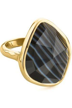 Monica Vinader Gold Siren Nugget Ring Black Line Onyx