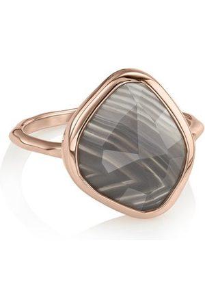 Monica Vinader Rose Gold Siren Nugget Stacking Ring Grey Agate