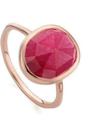 Monica Vinader Rose Gold Siren Medium Stacking Ring Pink Quartz