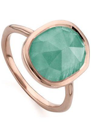 Monica Vinader Rose Gold Siren Medium Stacking Ring Amazonite