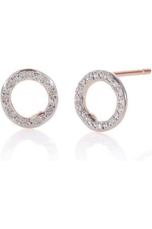 Monica Vinader Rose Gold Riva Diamond Circle Stud Earrings Diamond