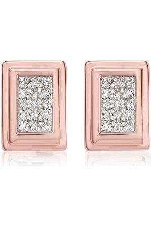 Monica Vinader Rose Gold Baja Deco Stud Earrings Diamond
