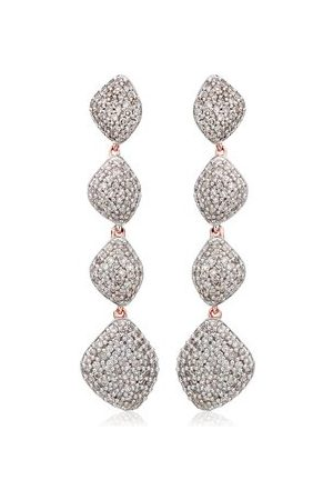 Monica Vinader Rose Gold Nura Teardrop Long Cocktail Earrings Diamond