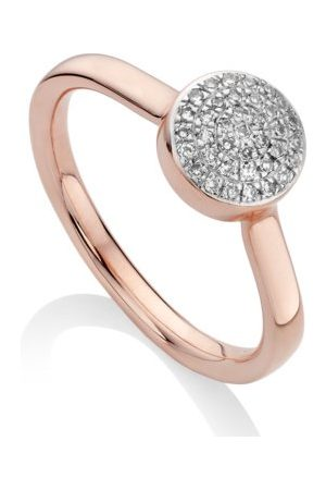 Monica Vinader Fiji Diamond Button Ring, Rose Gold Vermeil on Silver