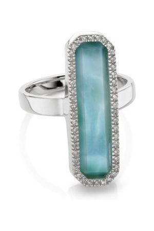 Monica Vinader Women Rings - Sterling Silver Naida Rectangle Ring Larimar