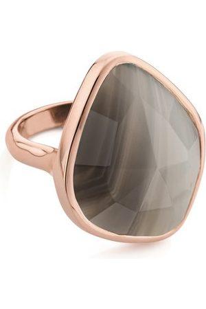 Monica Vinader Rose Gold Siren Nugget Ring Grey Agate