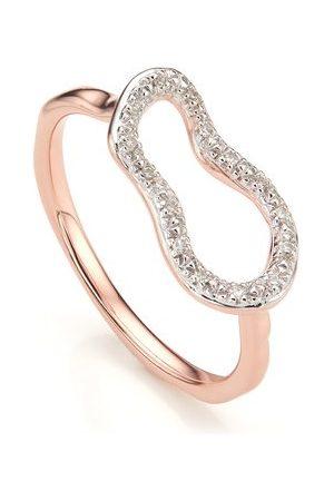 Monica Vinader Rose Gold Riva Mini Pod Ring Diamond