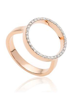 Monica Vinader Naida Circle Diamond Open Ring, Rose Gold Vermeil on Silver