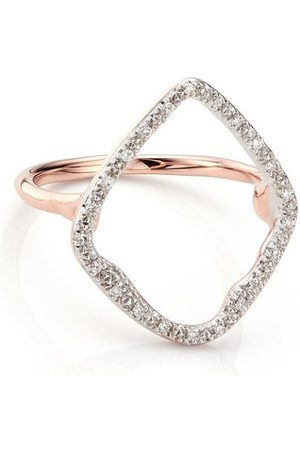 Women Rings - Monica Vinader Rose Gold Riva Hoop Cocktail Ring Diamond
