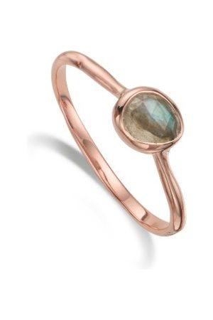 Monica Vinader Women Rings - Siren Labradorite Small Stacking Ring, Rose Gold Vermeil on Silver