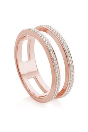 Monica Vinader Skinny Diamond Double Band Ring, Rose Gold Vermeil on Silver