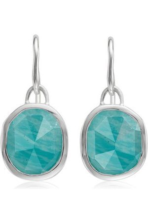 Monica Vinader Sterling Silver Siren Wire Earrings Amazonite