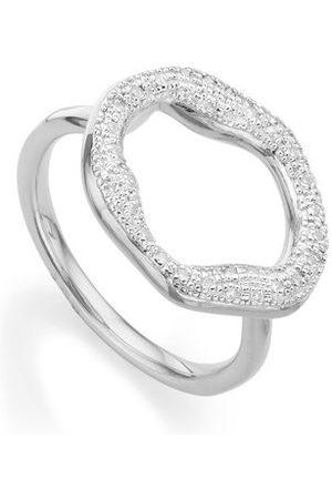 Monica Vinader Sterling Silver Riva Diamond Circle Ring Diamond
