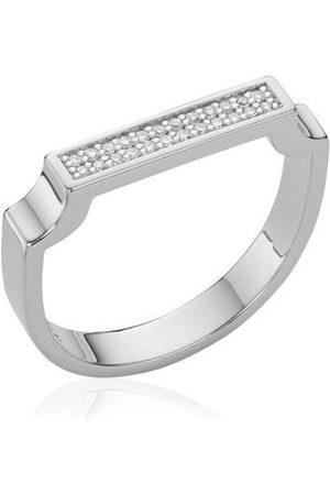 Monica Vinader Sterling Silver Signature Diamond Ring Diamond