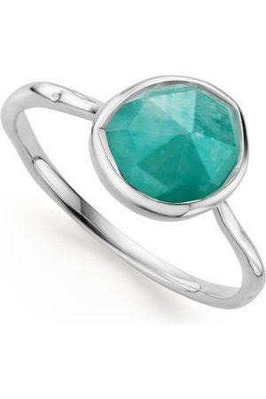 Monica Vinader Women Rings - Sterling Silver Siren Stacking Ring Amazonite