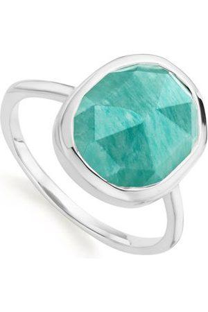 Monica Vinader Sterling Silver Siren Medium Stacking Ring Amazonite