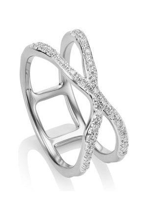 Monica Vinader Sterling Silver Riva Wave Cross Ring Diamond