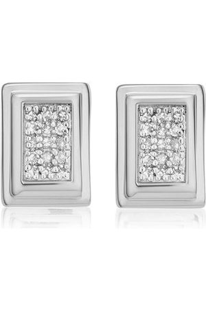 Monica Vinader Women Earrings - Sterling Silver Baja Deco Stud Diamond Earrings Diamond
