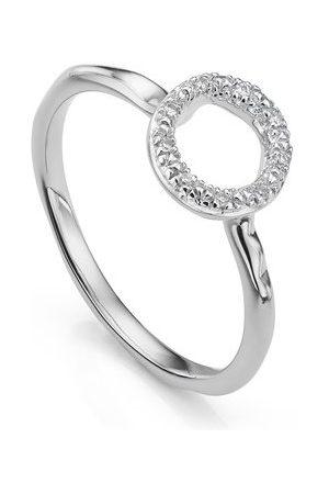 Monica Vinader Sterling Silver Riva Mini Circle Stacking Ring Diamond
