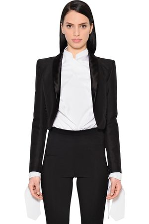 ANTONIO BERARDI CROPPED COTTON & WOOL BLEND JACKET