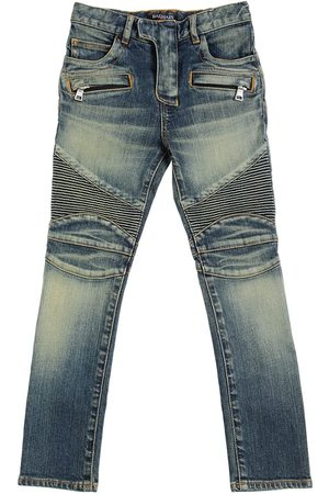 BALMAIN SLIM STRETCH COTTON DENIM BIKER JEANS