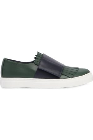 Marni FRINGED LEATHER STRAP SNEAKERS