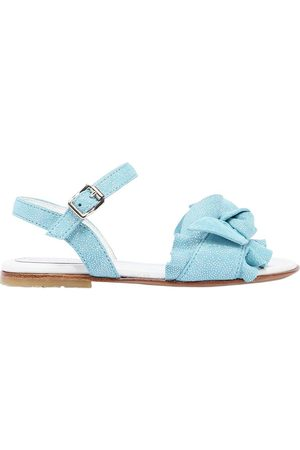 ANDREA MONTELPARE Girls Sandals - GLITTERED SUEDE SANDALS W/ BOW DETAIL