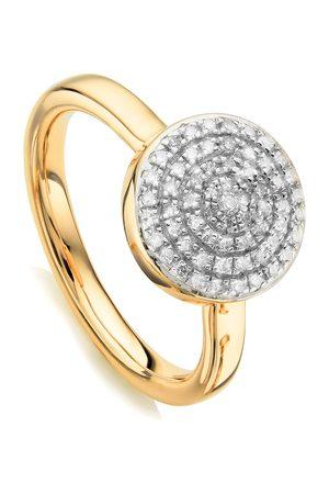 Monica Vinader Women Rings - Gold Fiji Large Button Stacking Ring Diamond
