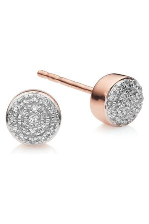Monica Vinader Rose Gold Fiji Mini Button Stud Earrings Diamond