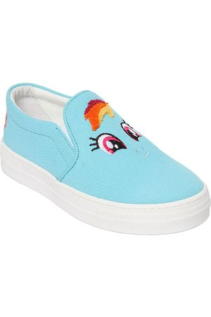 JOSHUA SANDERS RAINBOW PATCH CANVAS SLIP-ON SNEAKERS