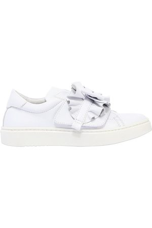 ANDREA MONTELPARE LEATHER SLIP-ON SNEAKERS W/ BOW DETAIL