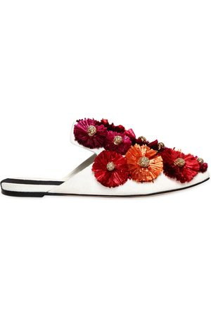 SANAYI313 Women Mules - 10MM FLORA RAFFIA FLOWERS CANVAS MULES