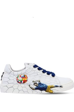 BE KOOL FOOTBALL PRINTED LEATHER SNEAKERS