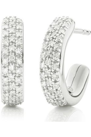 Monica Vinader Women Earrings - Sterling Silver Fiji Mini Hoop Diamond Earrings Diamond