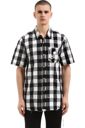 MASTERMIND WORLD SKULL CHECKED FLANNEL SHORT SLEEVE SHIRT