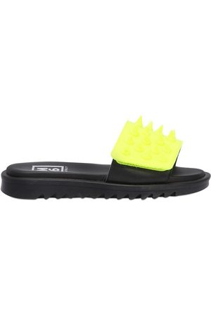 AM 66 SPIKED TWO TONE LEATHER SLIDE SANDALS