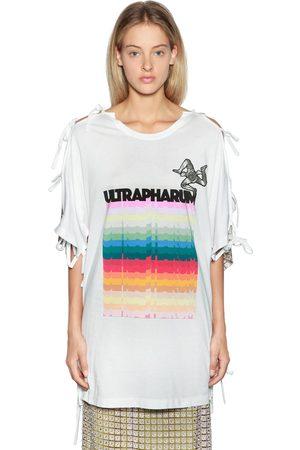 MARCO DE VINCENZO Printed Cotton & Lace Maxi T-shirt