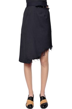 FACETASM ASYMMETRICAL PINSTRIPED WOOL SKIRT